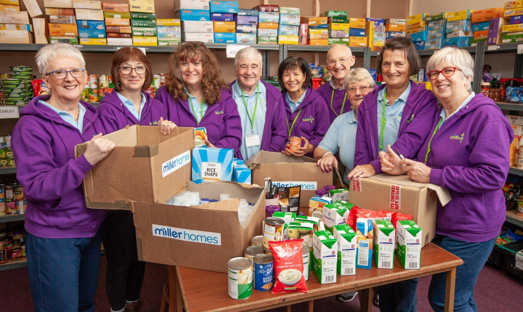 Food bank donation in Warton by Miller Homes