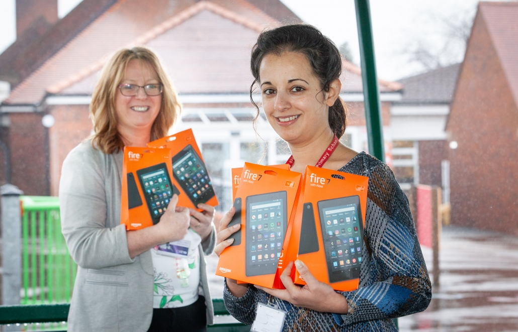 Donation of fire tablets by Miller Homes 2