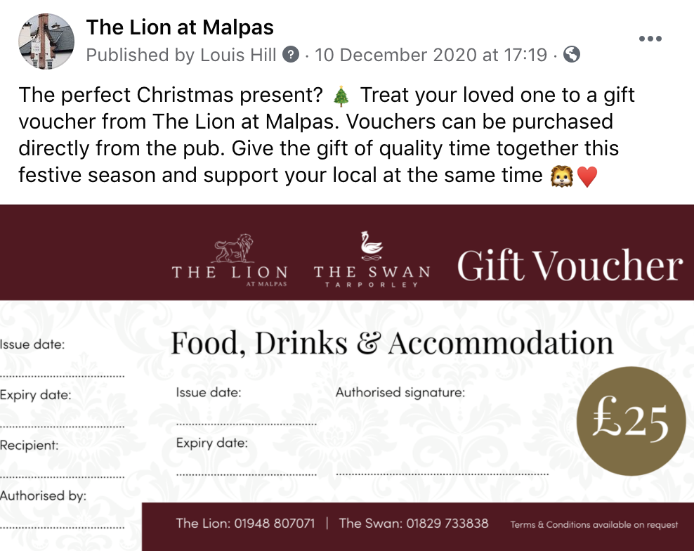 The Lion at Malpas voucher
